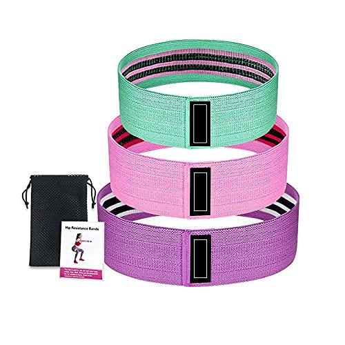 Heemol - Juego de 3 bandas de resistencia para la cadera, banda de tensión, anillo elástico antideslizante de látex para el hogar, gimnasio, yoga, entrenamiento