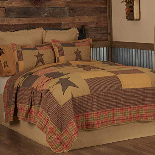 VHC Brands Stratton Luxury King Quilt 120Wx105L Primitive Country Patchwork Design, Tan and Red-Orange