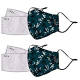 kensie Women's 2 Piece Face Mask Set, Teal Flower, Standard