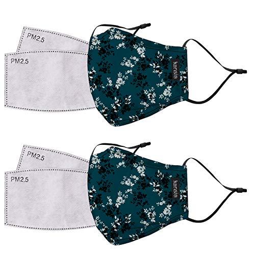 kensie Conjunto de máscara facial de 2 piezas para mujer, Juego de 2 máscaras faciales, Estándar, Verde azulado (Teal Flower)