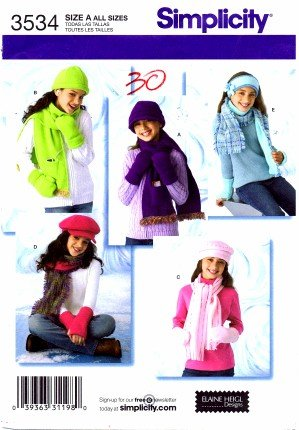 Simplicity 3534Schnittmuster Mädchen Hüte und Fäustlinge in drei Größen und Schals