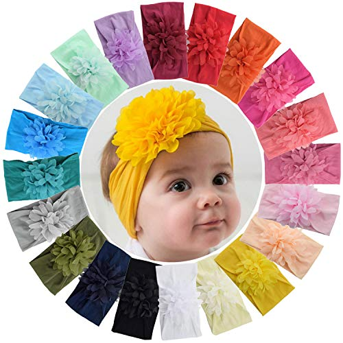 ALinmo 20pcs Baby Nylon Headbands Hairbands Chiffon Flower Hair Bow Elastics Hair Accessories for Baby Girls Newborn Infant Toddlers Kids