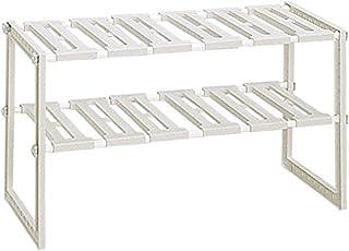 Belca キッチン収納 シンク下フリーラック 伸縮タイプ 幅50~75×奥行30.3×高さ39.8cm グレー VGY-EX