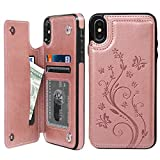 iPhone XS Max ケース iPhone XS Max ウォレットケース 押し花型 バタフライ レザー スマホケース 多機能カード収納 スタンド 機能ケース 人気 おしゃれ 耐汚れ 衝撃吸収 スマートフォン全面保護カバー ピンク