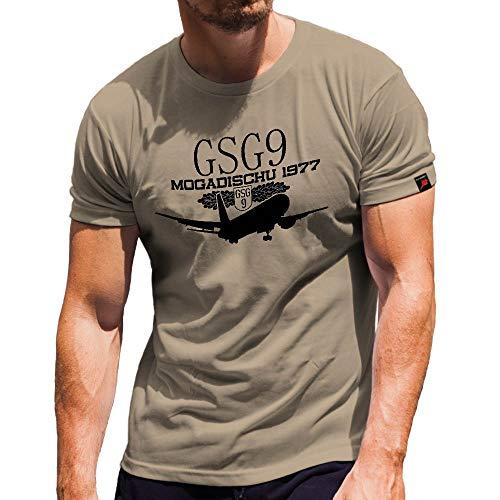GSG9 Mogadischu 1977 Operation Zauberfeuer Flugzeugentführung Landshut Grenzschutzgruppe 9 Bundespolizei - T Shirt #4727, Farbe:Sand, Größe:Herren M