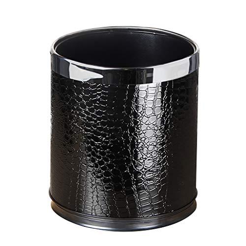 Poubelle- Poubelle de luxe en métal avec couvercle en cuir, corbeille à papier haut ronde (Color : A)