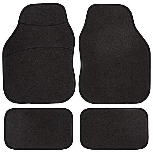 Safe Travel 27600 Alfombrillas universales para vehículos con volante a la izquierda, Almohadilla para los pies de moqueta, Costuras en Color Negro
