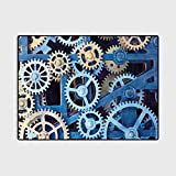 Clock Nursery Rug Home Decor Mats A Set of Clock Gears Steel Cogwheels Pattern Mechanical Theme Design Print Unusual Gifts for Men Blue and Sand Brown 4 x 6 Ft