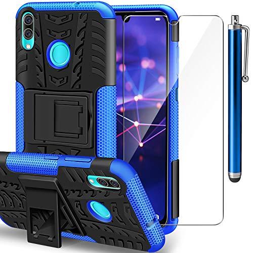 AROYI Funda Huawei P Smart 2019 con Protector de Pantalla,2 en 1 Duro PC Funda y Soft TPU Híbrida con Soporte Cáscara de Cubierta Protectora de Doble Capa Funda Caso para Huawei P Smart 2019 Azul