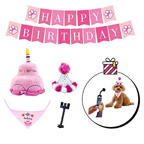 PYOGO Birthday Bandana Hat - Happy Party Supplies - Cake Toy - Bonus Memory Selfie Stick - Dog Mom Dad Gift Basket for Small Medium Large Dog Cat Pet Puppy Girl Boy (Pink)