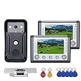 HBHYQ 7-Zoll-Farb-Video-2Monitors Intercom-Türsprech RFID-System mit HD-Türklingel 1000TVL Kamera...