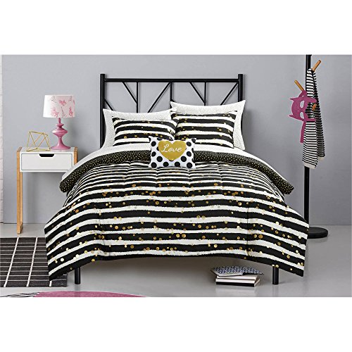 Gold Glitter Stripe and Polka Dot Bed in a Bag Bedding Set, Full Size