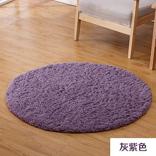 HYY-YY gebied tapijten moderne ronde tapijt eenvoudige slaapkamer bed woonkamer salontafel huis effen kleur verdikte computer stoel grond 1 M ronde grijs paars