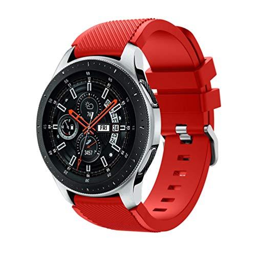 HappyTop Silikon-Armband für Samsung Galaxy Watch, 46 mm, wasserdicht, Unisex, rot