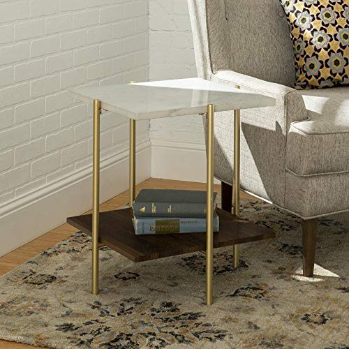 WE Furniture AZF20SSQSTMGD Mid Century Modern Square Side End Accent Table Living Room, Marble/Walnut