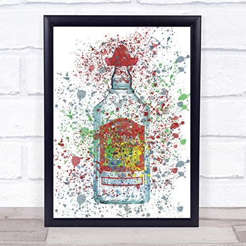 Duidelijke Mexicaanse Tequila Fles muur kunst ingelijst Print Framed Brushed Gold Small