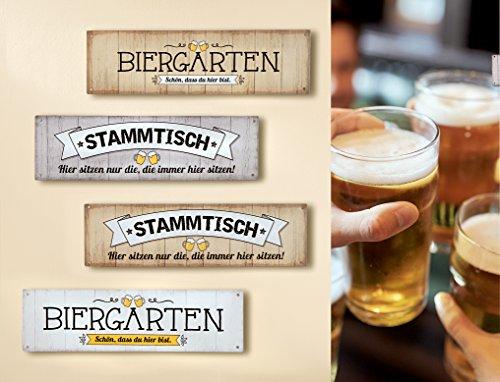 GILDE 1 x Schild Weisheit Bier Hellbraun Spruch: Biergarten schön DASS du Hier bist Breite 30,5 cm, Wanddeko (Biergarten (Hellbraun))
