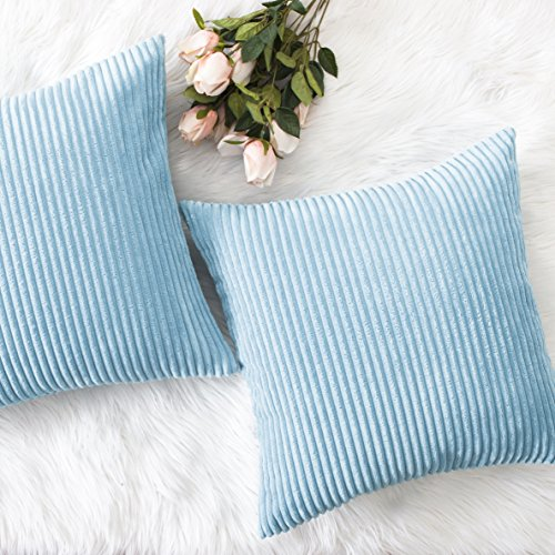 Home Brilliant Decorative Soft Velvet Corduroy Striped Square Throw Pillow Cushion Cover for Couch, 18 x 18 inch(45cm), Turquoise, Set of 2