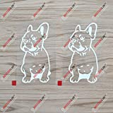 2X White 5'' French Bulldog Dog Frenchie Decal Sticker Car Vinyl die Cut no Background