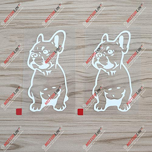 2X White 5'' French Bulldog Dog Frenchie Decal Sticker Car Vinyl die Cut no Background
