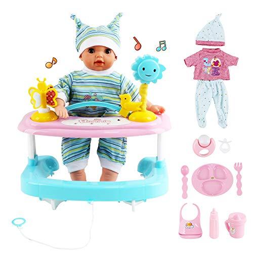 """deAO La Mia Prima Bambola Bebè Set Interattivo Include Bambola di 14"""" con Suoni, Pigiami, Camminatore e Accessori."""
