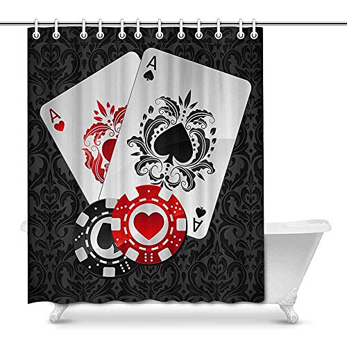 FANCYDAY Aces spelen Poker Kaarten en Casino Poker Chips op Zwarte Damask Decor Waterdicht Polyester Badkamer Douche Gordijn Bad Decoraties