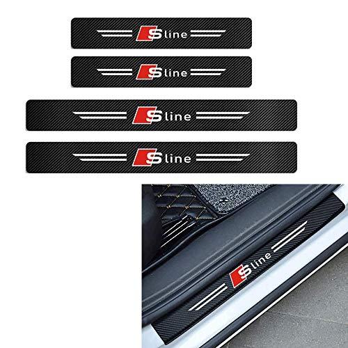 L&U Vigilancia de Entrada 4pcs 4D Fibra de Carbono Pegatina decoración de la Puerta de la Puerta del Desgaste del travesaño Etiquetas de Placas para Audi A4 A3 Q5 Q3 S3 S4 S Line,Blanco,for Sline