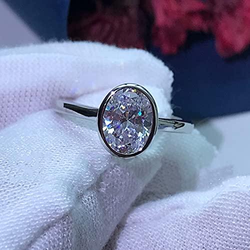 JIUXIAO Anillo de Diamante de Laboratorio de Boda de CompromisoArtificial Ovalado de Plata de Ley 925, Brillante Blanco