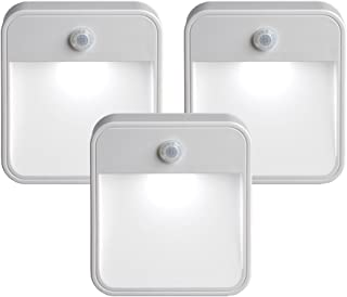 Mr. Beams MB 723 MB723 Battery-Powered Motion-Sensing LED Stick-Anywhere Nightlight, 3-Pack, White, 3