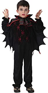 Halloween Kids Fancy Dress Costume, Bat Vampire Cosplay Show Costumes,Suitable for Under 17 Years Old (Color : Black, Size : XL)