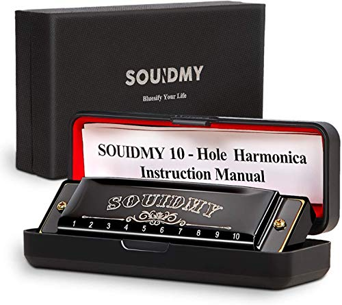 Harmonica Key of C,SOUIDMY Blues Harmonica for Kids,Adults,Beginners, Diatonic Harp With Gift Case,10 Holes 20 Tones Mouth Organ, Ultra-thin Bronze Reed, Stainless Steel