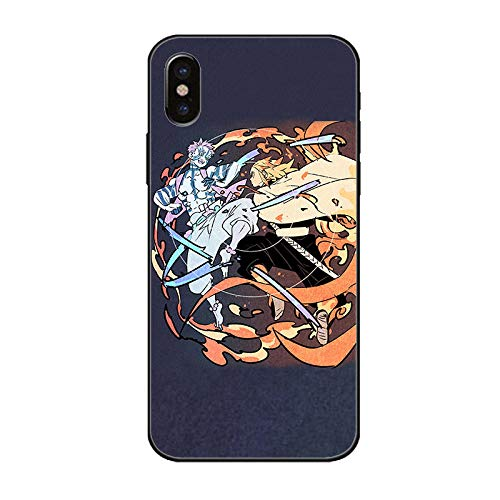 Carcasa de Cristal Templado para iPhone 7, 8, 6, 6S, Plus, 11, 11Pro, 11, Pro MAX X, XR, XS MAX, Anime Demon Slayer Back Shell-A_for_iphone7/8/SE2