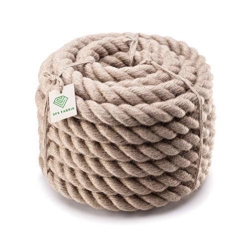 SFS Fabrik CORDE DE JUTE 26mm 5m Cordage Cordes Chanvre naturel Corde de chanvre Tir à la corde Jute Barrière corde Balustrade Décoration DIY Comme une photo (26mm, 5m)
