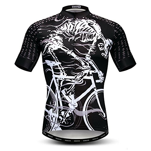 Weimostar Cycling Jersey Men Short Sleeve Cycle Bicycle Clothing MTB Road Bike Shirts Tops Full Zipper Pockets Reflective Skeleton Size L