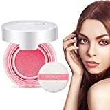 Impermeable Blusher Air Cushion BB Cream Maquillaje Nude Rouge Cream Blushher Powder con Blush Sponge(Peach Pink)