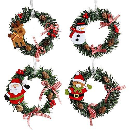 WanXingY 4 unids Navidad Guirnalda Guirnalda Decoración de la Pared Ornamentos Colgantes de la Navidad Guirnaldas de Pino Navidad Elk Muñeco de Nieve Santa Claus Colgante Decoración para el hogar