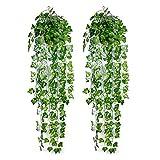 Ousuga Plantas Artificiales Decorativas,2 Piezas Hiedra Artificial Verde Hojas de Hiedra Falsas Hanging Wedding Garland Falsas Follaje Flores Inicio Cocina Jardín Oficina Porche Valla Decoración