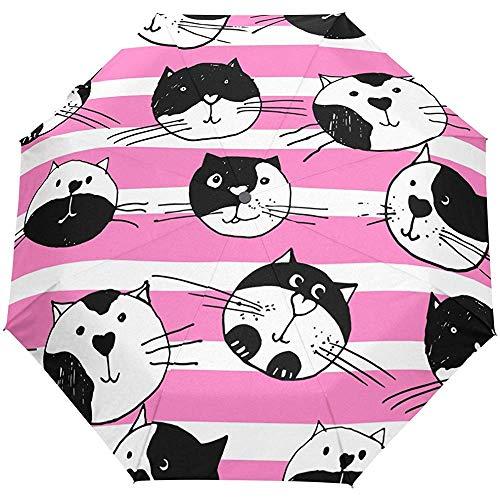 Cute Cats Stripes Auto Open Close Paraguas Anti UV Plegable Compacto Automático...