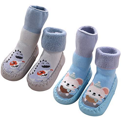Adorel Baby Hüttenschuhe Gefüttert Socken Anti-Rutsch 2 Paar Dinosaurier & Mäuschen 24 (Herstellergröße 16)