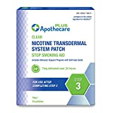 Apothecare Plus Nicotine Transdermal System Patch 7 Mg Delivered Over 24 Hours   Stop Smoking Aid   Step 3, Clear, 14 Patches, 14 Count
