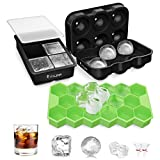 FYLINA Ice Cube Trays 3 Pack Upgraded Ice Trays Molds, Sphere Whiskey Ice Ball and Large Square Ice Cube with Removable Lid, Easy Release & BPA Free Silicone Ice Moulds for Whiskey Cocktail Drinks