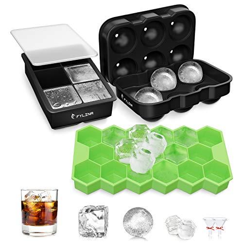 FYLINA Eiswürfelform Eiskugelform Ice Cube Eiswürfelschalen Eiswürfel mit Deckel Leicht Entformbare & BPA-freie Würfel Eiswürfel Form für Whisky, Cocktails, Saft, Schokolade, Süßigkeiten 6+6+17 Fach