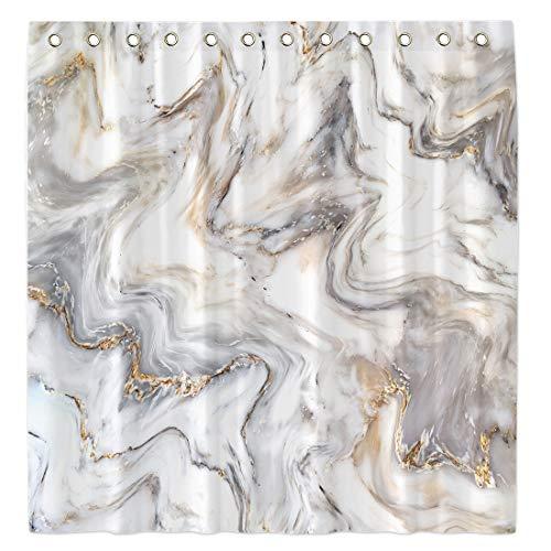 Allenjoy 182,9 x 182,9 cm goldener und weißer Marmor-Duschvorhang für Badezimmer-Sets, Textur, Heimdekor, Dekorationen, langlebiger, wasserdichter Stoff, maschinenwaschbar, mit 12 Haken