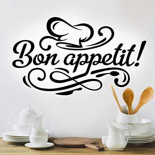 Autocollant mural Bon appétit pour cuisine avec citation lettrage en vinyle noir café salle à manger citation décoration accessoire stickers art café pub restaurant tasse chef toque transferts