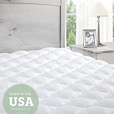 ExceptionalSheets Pillowtop Mattress Pad with Fitted Skirt - Extra Plush Topper Found in Marriott Hotels - Made in the USA, King