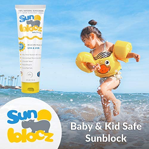 Sunblocz SPF 50 Baby + Kids Sunscreen, Natural Mineral Zinc Oxide, Waterproof, Certified Reef Safe 4 oz