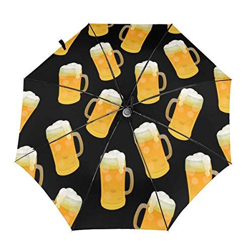 Gelber Bier Automatischer dreifach gefalteter Sonnenschirm Sonnenschirm Sonnenschirm Sonnenschirm