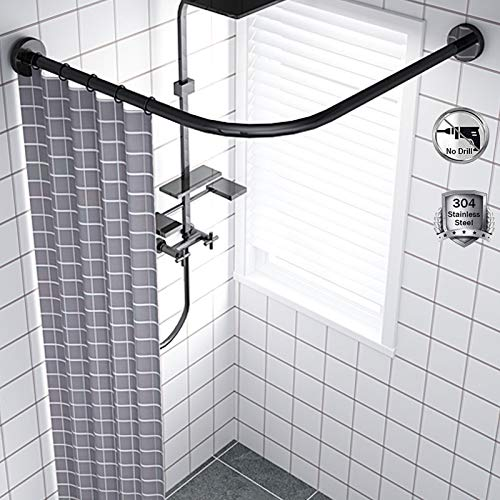 Shower Rod Curved No Drill, Adjustable L Shaped Shower Curtain Rod Pole, Wall Mounted Corner Shower Curtain Rod, 304 Stainless Steel, for Bathroom Black Matte,70 to 95cm × 70 to 95cm