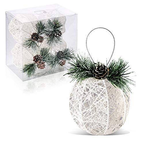 ZHANYIGY Christmas Ball Ornaments, 4pc Set White Pinecone Rattan Thread String Christmas Tree OrnamentXmas Trees Wedding Party Decorations