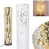 Stehleuchte Sjaelland aus Pailletten in Gold-Weiß, 2-flammige Bodenlampe mit Fußschalter, 2 x E27 max. 40 Watt, Pailetten des Schirms können beliebig gewendet, geeignet für LED Leuchtmittel